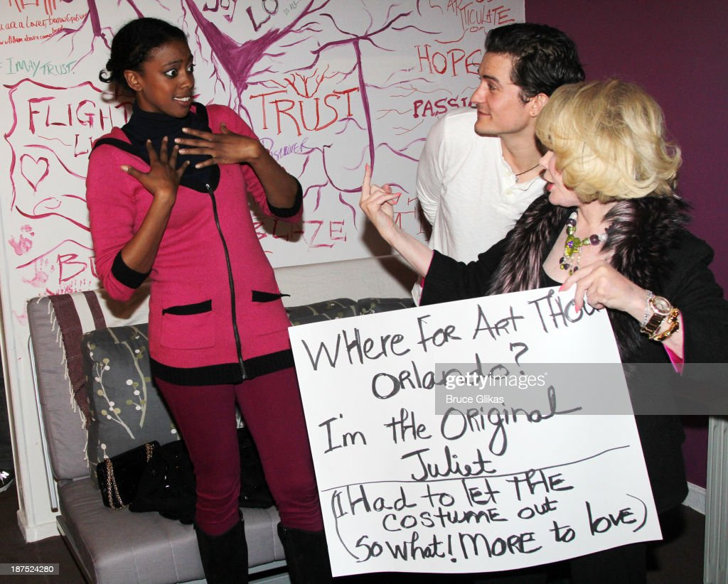Condola Rashad Orlando Bloom and Joan Rivers seen backstage at 'Romeo and Juliet' on Broadway at The Richard Rogers Theater on November 9 2013 in New...