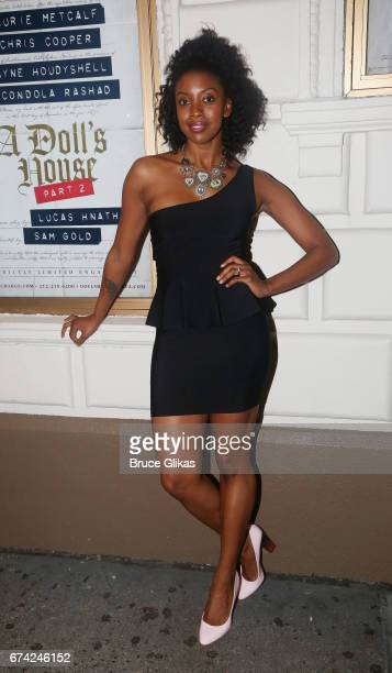Condola Rashad poses at the opening night of the play 'A Doll's House Part 2' on Broadway at The Golden Theatre on April 27 2017 in New York City