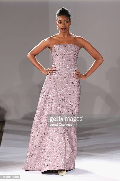 Condola Rashad walks the runway at the B Michael America fashion show during MercedesBenz Fashion Week Fall at New York Public Library on February 18...