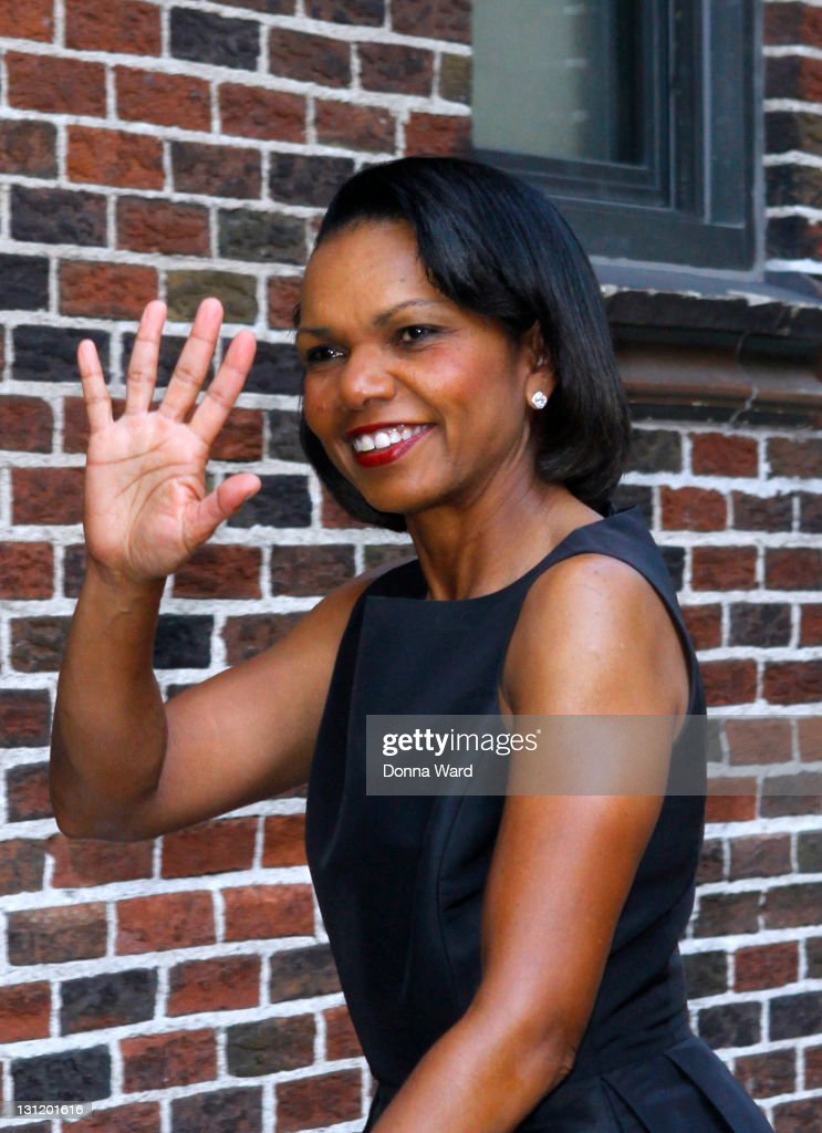 Condoleeza Rice arrives for the 'Late Show With David Letterman' at the Ed Sullivan Theater on November 2, 2011 in New York City.