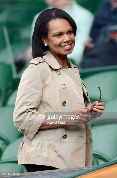 Condoleezza Rice attends Day 2 of the Wimbledon Tennis Championships 2013 at Wimbledon on June 25 2013 in London England
