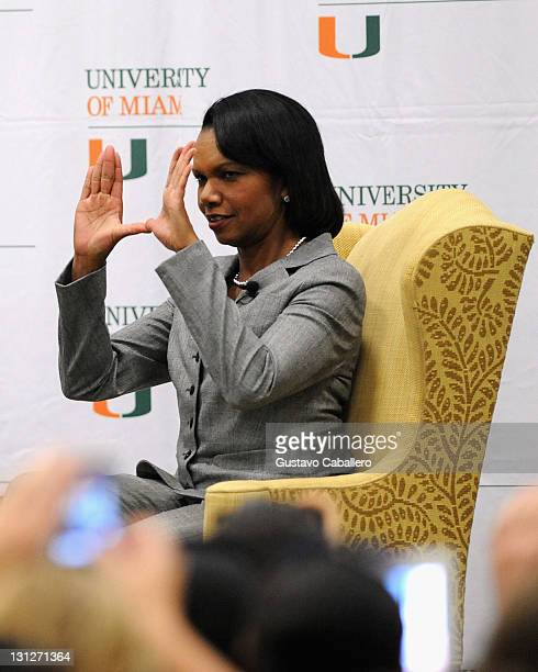 Condoleezza Rice Discusses Her Memoir 'No Higher Honor' at Bank United Center on November 3 2011 in Miami Florida