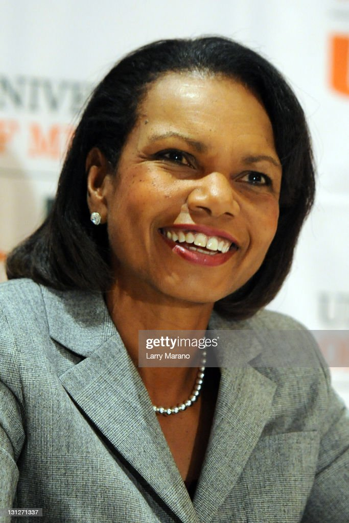 <a gi-track='captionPersonalityLinkClicked' href=/galleries/search?phrase=Condoleezza+Rice&family=editorial&specificpeople=157540 ng-click='$event.stopPropagation()'>Condoleezza Rice</a> discusses memoir 'No Higher Honor' at Bank United Center on November 3, 2011 in Miami, Florida.