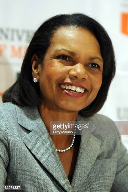 Condoleezza Rice discusses memoir 'No Higher Honor' at Bank United Center on November 3 2011 in Miami Florida