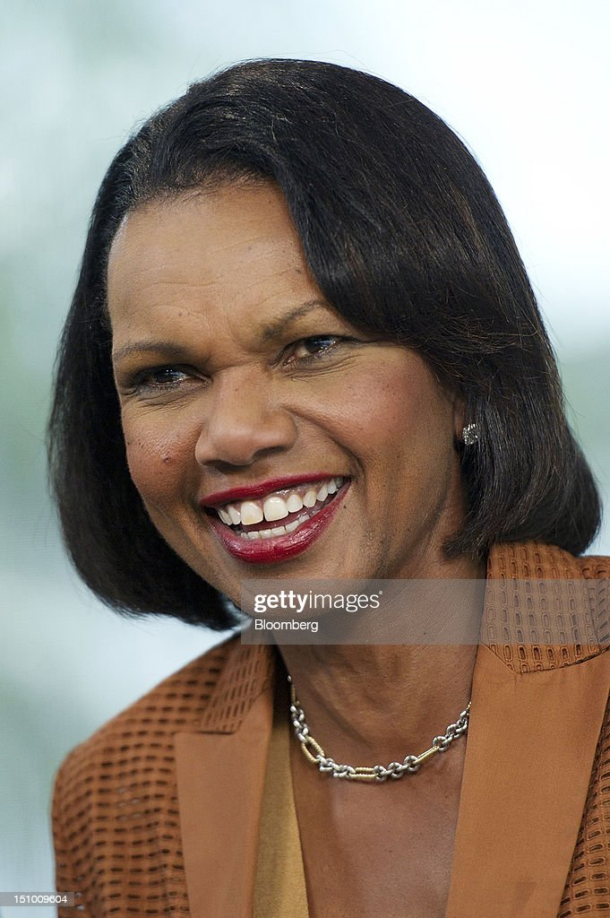 <a gi-track='captionPersonalityLinkClicked' href=/galleries/search?phrase=Condoleezza+Rice&family=editorial&specificpeople=157540 ng-click='$event.stopPropagation()'>Condoleezza Rice</a>, former U.S. secretary of state, speaks during a Bloomberg Television interview inside the Bloomberg Link during the Republican National Convention (RNC) in Tampa, Florida, U.S., on Thursday, Aug. 30, 2012. Rice said she sees the chances of an Israeli strike to disable Iran's nuclear program increasing. Photographer: David Paul Morris/Bloomberg via Getty Images