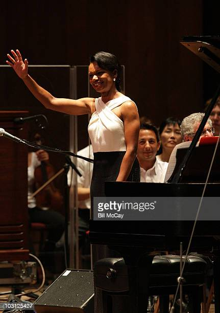 Condoleezza Rice performs with the Philadelphia Orchestra at The Mann Center July 27 2010 in Philadelphia Pennsylvania