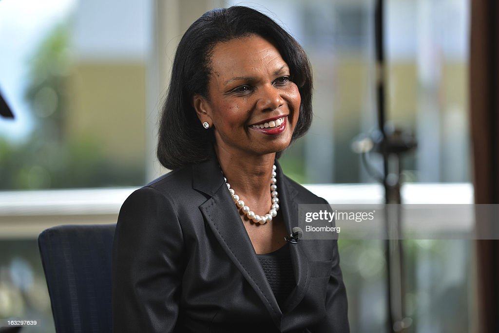 <a gi-track='captionPersonalityLinkClicked' href=/galleries/search?phrase=Condoleezza+Rice&family=editorial&specificpeople=157540 ng-click='$event.stopPropagation()'>Condoleezza Rice</a>, professor of political science at Stanford University and former secretary of state, speaks during a Bloomberg Television interview at the Everest Capital Emerging Market Forum, in Miami, Florida, U.S., on Thursday, March 7, 2013. Rice served as secretary of state under President George W. Bush from 2005-2009 Photographer: Mark Elias/Bloomberg via Getty Images