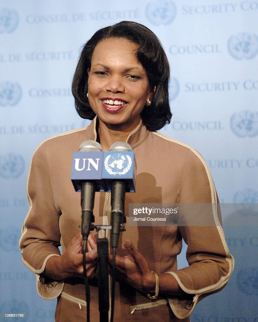 <a gi-track='captionPersonalityLinkClicked' href=/galleries/search?phrase=Condoleezza+Rice&family=editorial&specificpeople=157540 ng-click='$event.stopPropagation()'>Condoleezza Rice</a>, Secretary of State of the United States, addresses journalist following the 13th Plenary Meeting of the 60th General Assembly session at the United Nations on September 19, 2005 in New York City