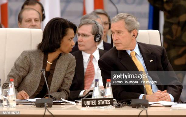 Condoleezza Rice US Secretary of State and President of the United States George Bush attend the first working session of the NATO Summit in Riga...