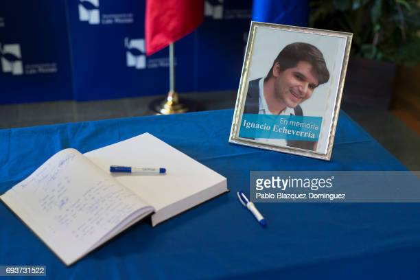 A condolence book is seen next to a picture of Ignacio Echevarria ahead of a vigil to honour the London Bridge terror attack hero Ignacio Echevarria...