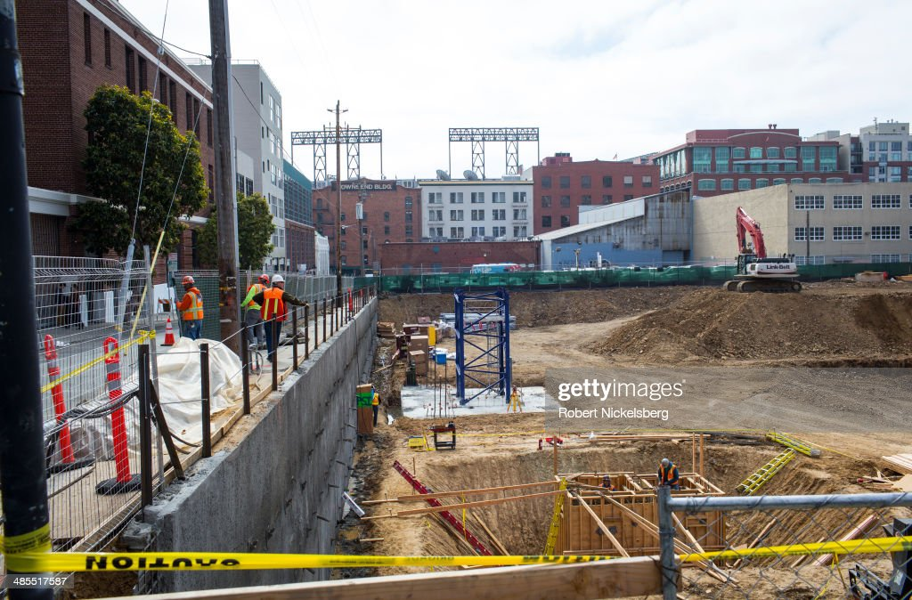 Condominium construction goes on April 14, 2014 in the heart of the start-up district in San Francisco, California. The area is known as SOMA, or South of Market Street and is seeing a surge in residential construction.