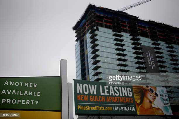 A condominium under construction stands in the Gulch neighborhood of Nashville Tennessee US on Saturday Feb 8 2014 Tennessee's state capital known as...
