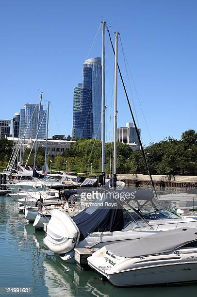Condominiums at 1 Museum Park serves as a backdrop as boats dock in Burnham Harbor in Chicago Illinois on SEPT 07 2011