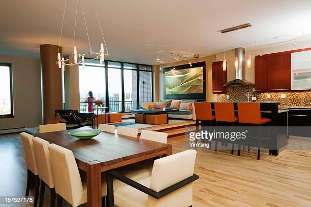 Condomium appartement Intérieur de maison témoin de séjour et salle à manger, cuisine