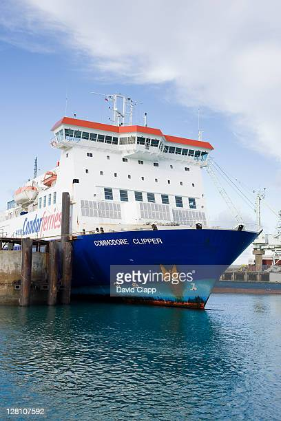 Condor ferry, moored in St Peter Port harbour waits for boarding passengers, Guernsey, Channel Islands