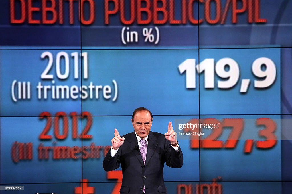 TV conductor Bruno Vespa attends 'Porta A Porta' TV Show on January 23, 2013 in Rome, Italy. National Elections in Italy are scheduled for February 24.