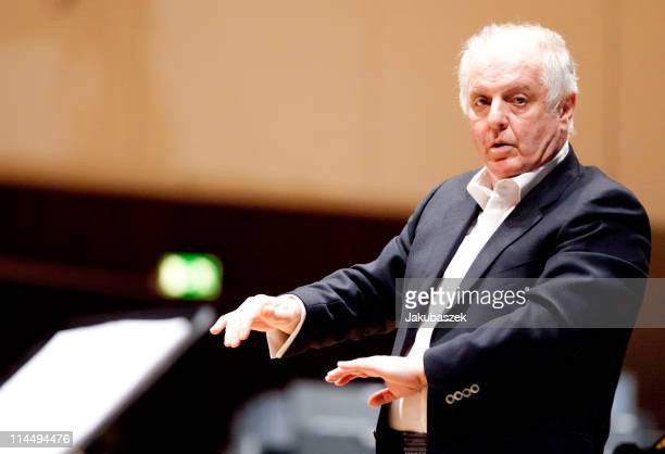 Conductor Daniel Barenboim conducts the WestEastern Divan Orchestra during the concert rehearsal at the Berlin Philharmonic on May 22 2011 in Berlin...