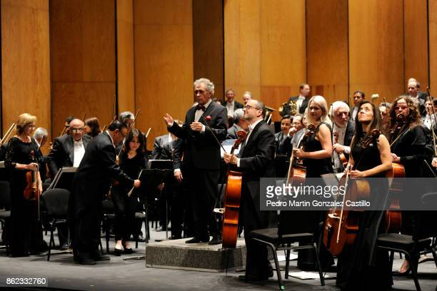 Conductor Enrique Bátiz greets the audience along with the Symphonic Orchestra of Mexico during the 45th Cervantino International Festival at Juarez...