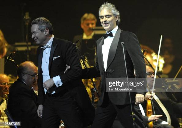 Conductor Eugene Kohn and Andrea Bocelli perform in support of Andrea's Opera release at HP Pavilion on November 23 2012 in San Jose California