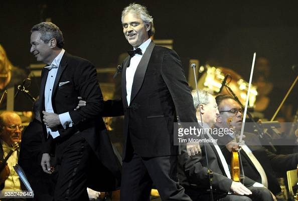 Conductor Eugene Kohn and Andrea Bocelli perform in support of Andrea's Opera release at HP Pavilion in San Jose California