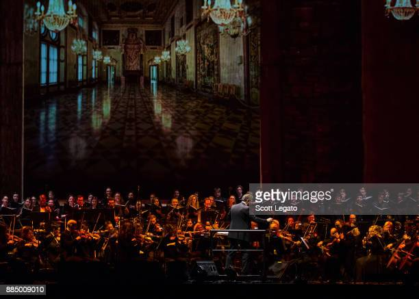 Conductor Eugene Kohn performs with the Detroit Symphony Orchestra at Little Caesars Arena on December 3 2017 in Detroit Michigan