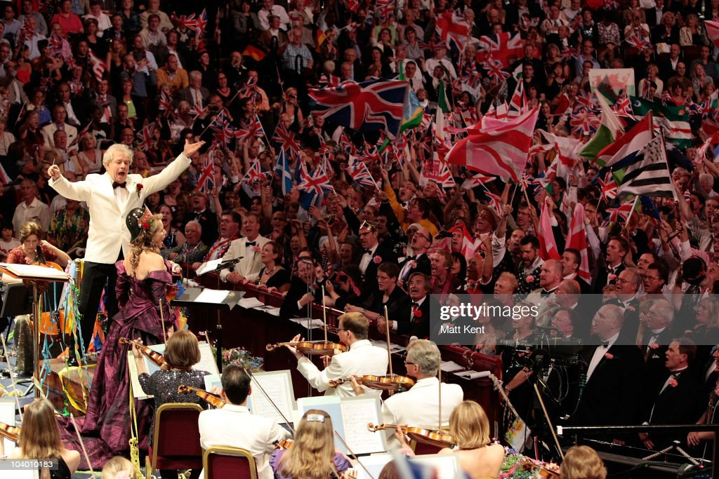 Conductor Jiri Belohlavek and soloist Renee Fleming perform 'Rule Britannia' at the last night of the Proms at the Royal Albert Hall on September 11, 2010 in London, England.