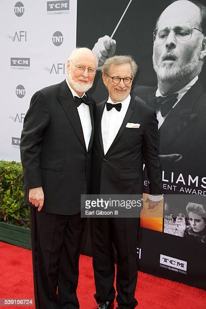 Conductor John Williams and Director Steven Spielberg attend the 44th AFI Life Achievement Awards Gala Tribute to John Williams at Dolby Theatre on...