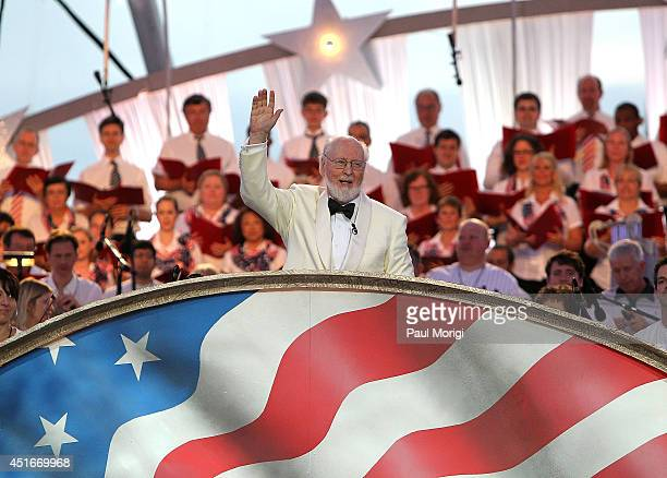 Conductor John Williams debuts his new version of the 'The StarSpangled Banner' at PBS's 2014 A CAPITOL FOURTH rehearsals at US Capitol West Lawn on...