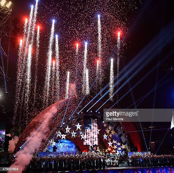 Conductor Keith Lockhart leads the Boston Pops Fourth Of July Fireworks Spectacular amid heightened security at Hatch Shell on July 4 2015 in Boston...
