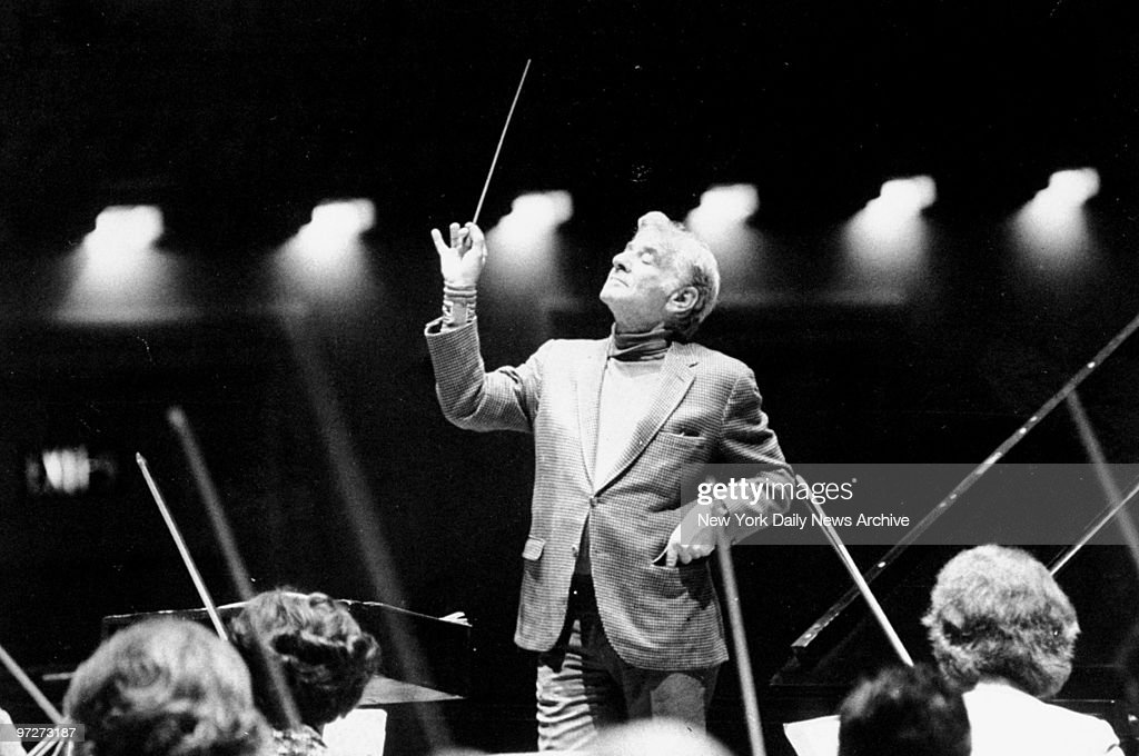 Conductor Leonard Bernstein during rehearsal with the Cincinnati Symphony at Carnegie Hall