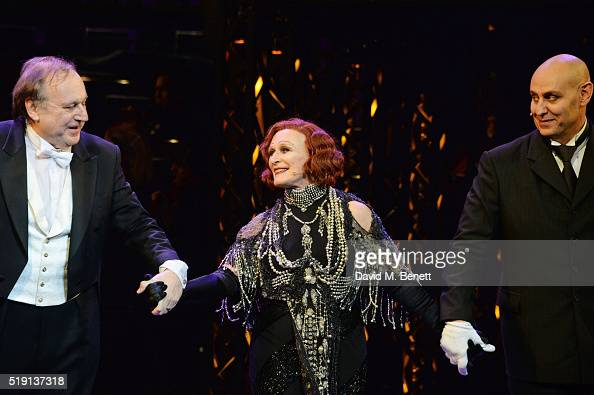 Conductor Michael Reed Glenn Close and Fred Johanson attend the press night performance of 'Sunset Boulevard' at The London Coliseum on April 4 2016...