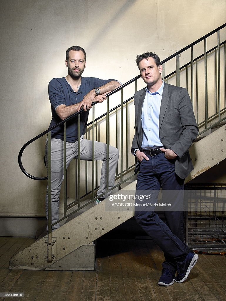 Conductor, Philippe Jordan and the choreographer, Benjamin Millepied are photographed for Paris Match in front of the sculpture Sol et colombe opu la naissance de la pensee at the Economic and Social Council on April 17, 2014 in Paris, France.