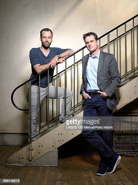 Conductor Philippe Jordan and the choreographer Benjamin Millepied are photographed for Paris Match in front of the sculpture Sol et colombe opu la...