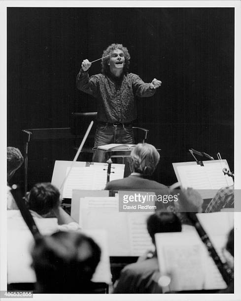 Conductor Simon Rattle on stage circa 1985