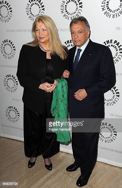 Conductor Zubin Mehta and wife Nancy arrive at the Paley Center For Media's Salute To The Kennedy Center Honors on December 16 2009 in Beverly Hills...