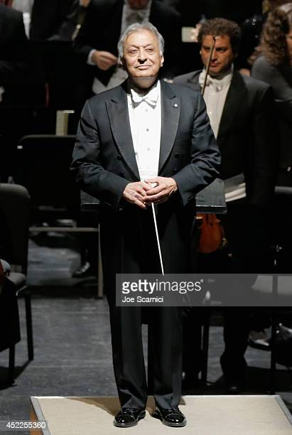 Conductor Zubin Mehta onstage with the Israel Philharmonic Orchestra at American Friends Of The Israel Philharmonic Orchestra Benefit Honoring Hans...