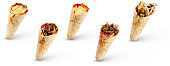 Five different flavours cone pizzas isolated