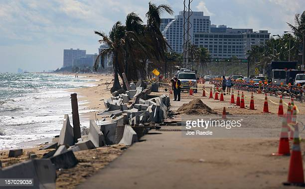 Cones mark off the damage caused by beach erosion along route A1A making parts of it impassable to vehicles on November 27 2012 in Fort Lauderdale...