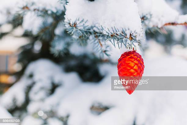 Cone-shaped christmas bauble hanging on evergreen tree