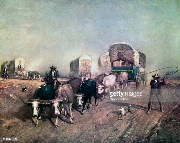 Conestoga wagon train heading west in 1850s America screen print 1954