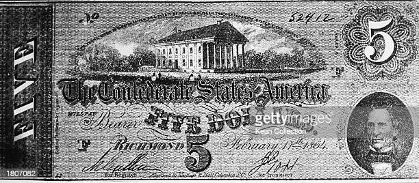 Confederate five dollar bill bearing the picture of Confederate president Jefferson Davis 1864