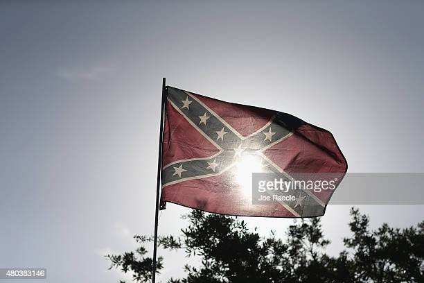 Confederate flag is seen during a rally to show support for the American and Confederate flags on July 11 2015 in Loxahatchee Florida Organizers of...