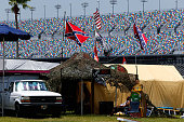 Confederate flags are seen prior to practice for the NASCAR XFINITY Series Subway Firecracker 250 at Daytona International Speedway on July 3 2015 in...