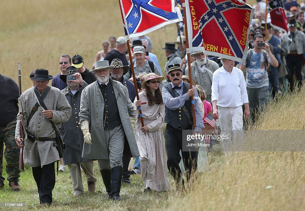 A Confederate General Lee re-enactor leads thousands of civilians as they re-enact Pickett's Charge on the 150th anniversary of the historic Battle of Gettysburg on July 3, 2013 in Gettysburg, Pennsylvania . The Rebel charge, which occurred on July 3, 1863, the last day of the three-day battle, was a decisive Union victory and widely considered the turning point in the American Civil War. Federal and Confederate armies suffered a combined total of 51,000 casualties over three days, the highest number of any battle in the four-year war.