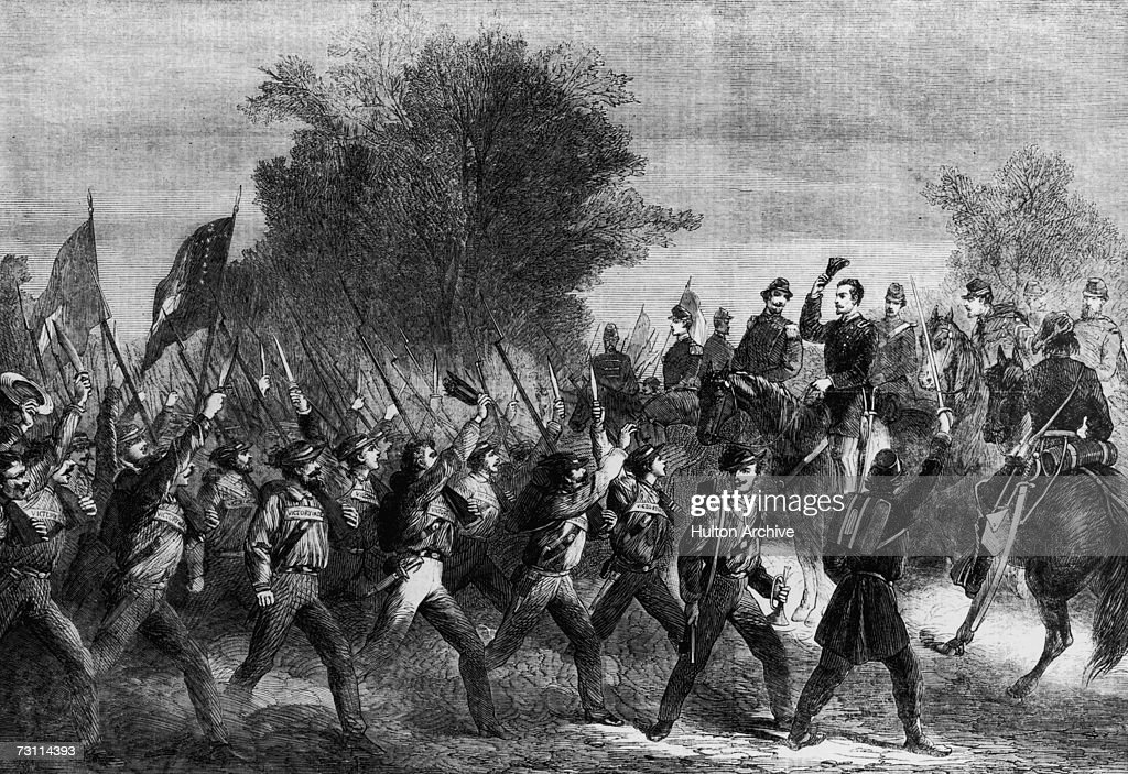 Confederate General P G T Beauregard reviewing the Mississippian contingent during the American Civil War December 1861