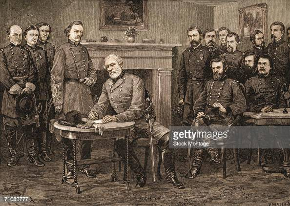 Confederate General Robert E Lee surrenders to Union General Ulysses S Grant at Appomattox Court House which effectively ended the American Civil War...