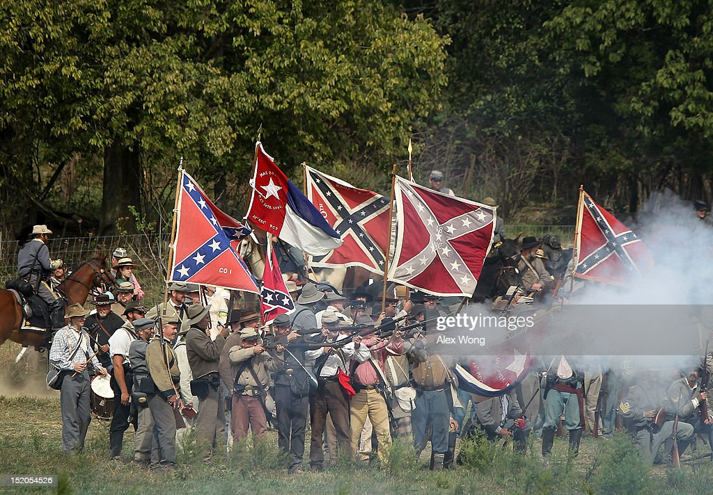Confederate infantry re-enactors participate in the Battle of Bloody Lane during an event to mark the 150th anniversary of the Battle of Antietam September 15, 2012 in Sharpsburg, Maryland. The Battle of Antietam was fought on September 17, 1862 and was the bloodiest battle in American history with more than 23,000 men killed, wounded, and missing in one single day. It marked the end of General Robert E. Lee's first invasion of the North and led to Abraham Lincoln's issuance of the Emancipation Proclamation.