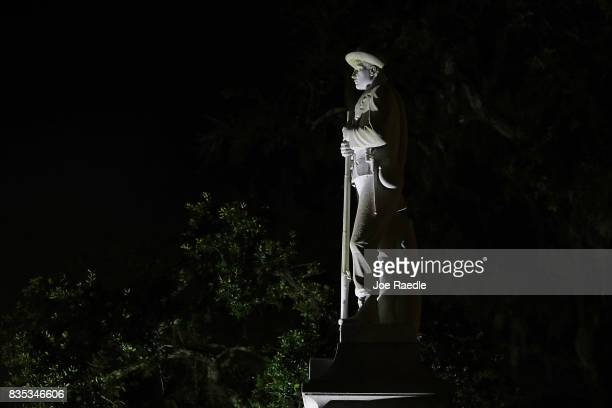 Confederate monument featuring a statue of a Confederate soldier is seen in front of the Hernando County Courthouse in the midst of a national...