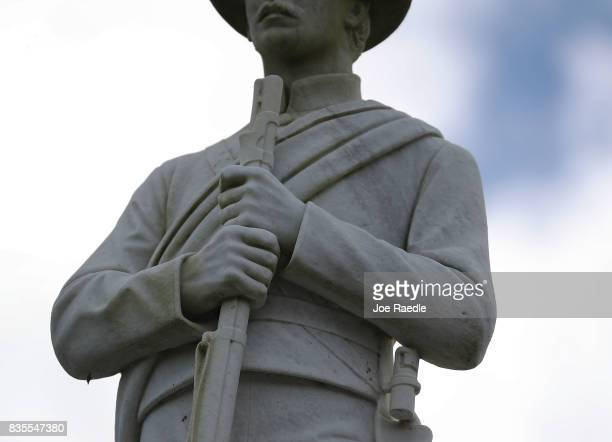 Confederate monument featuring a statue of a Confederate soldier is seen at the Ocala Veterans Park in the midst of a national controversy over...