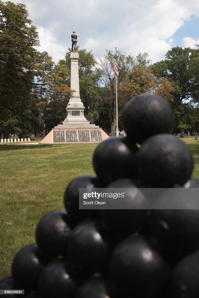 Confederate Mound a memorial to more than 4,000 Confederate prisoners of war who died in captivity at Camp Douglas and are buried around the monument, sits in a Southside cemetery on August 23, 2017 in Chicago, Illinois. The monument, which is maintained by the National Park Service, is located inside the private Oak Woods Cemetery. Cities around the country are debating what to do with Confederate monuments following recent protests and calls for their removal.